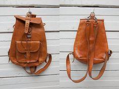 1980s Vintage Light Brown Leather Bag Pack Ruck by CoverVintage, $29.00