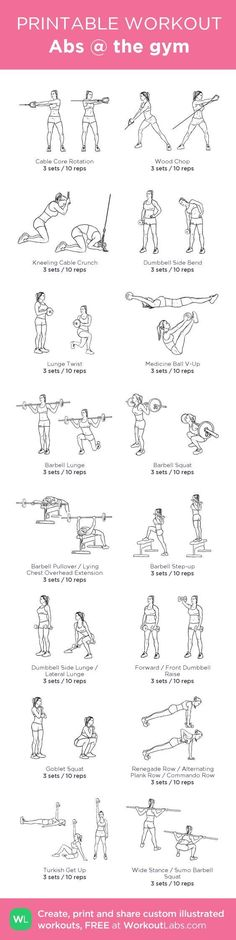 Abs @ the gym my custom workout created at WorkoutLabs.com Click through to download as printable PDF! #customworkout #gymtrainingtips