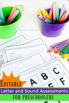 Editable Letter Identification/Sound Assessment for Preschoolers Abc Games For Kids, Writing Activities For Preschoolers, Preschool Writing, Preschool Lesson Plans, Preschool Letters, Free Preschool, Preschool Printables, Learning Activities, Learning Letters