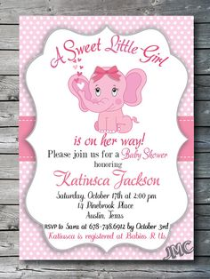 Hey, I found this really awesome Etsy listing at https://www.etsy.com/listing/261121035/pink-elephant-invitation-baby-shower