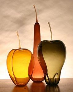 Hand Blown Glass Fruit Trio - Elongated Fall Set