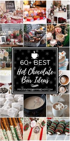 60 Best Hot Chocolate Bar Ideas Keep your guests warm this winter with one of these creative and beautiful hot chocolate bars. These hot chocolate bars are perfect for Christmas parties and holiday gatherings with family or friends. Hot Chocolate Party, Cocoa Party, Christmas Hot Chocolate, Hot Chocolate Mix, Hot Chocolate Recipes, Chocolate Chocolate, Hot Chocolate Bar Wedding, Hot Chocolate Toppings, Hot Coco Bar