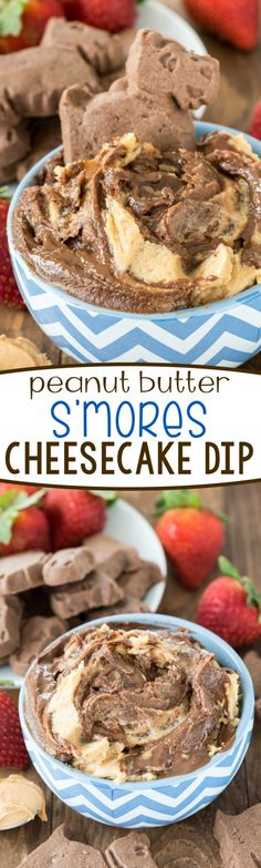 Peanut Butter S'mores Cheesecake Dip - this no bake easy cheesecake dip recipe is full of peanut butter, chocolate, and marshmallow! Perfect for dipping cookies in!