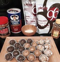 Protein Energy Balls - Each ball is 7 grams of protein and 178 calories. - 1pkt P96 (vanilla or chocolate) - 1 cup peanut or almond butter  - 1 cup old fashioned oats  - 1/4 cup honey  - Optional - roll in toasted, unsweetened coconut (adds about 5 calories) Just mix, roll and allow to set in fridge. A single packet of P96 makes 12-14 energy balls.http://sharonleath.myplexusproducts.com/products/plexus-96