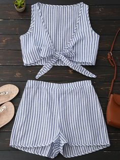 SHARE & Get it FREE | Plunge Striped Front Tied Top With Shorts - Blue Stripe SFor Fashion Lovers only:80,000+ Items • New Arrivals Daily Join Zaful: Get YOUR $50 NOW!
