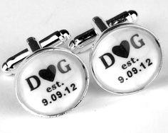 Custom Cuff Links, Personalized groom wedding date cufflinks, Wedding cuff links, Groom cuff links, $32.99, via Etsy.
