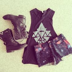 Cute tank, cute shorts, and combat boots!