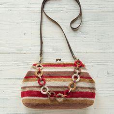 編み物レシピ(編み図)   がま口   リング飾りのがま口バッグ   越膳夕香   ステッチステッチ   手芸の作り方、編み方、縫い方、レシピのポータルサイト