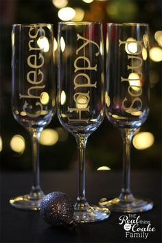 Champagne glasses personalized with glass etching to toast in 6 different languages.
