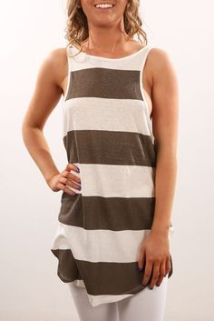 Amity Tank Khaki Ivory Stripe