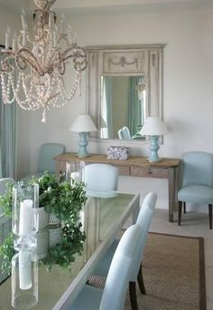 Powder blue dining chairs