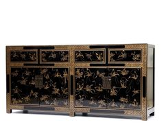 Beautifully detailed, this glossy black lacquered sideboard has been hand-painted with gold butterflies which symbolise longevity.The four drawers each have a brass ring handle and the two double cupboards, which each house a remo Chinese Furniture, Sideboard, Buffet, Hand Painted, Wood, Home Decor, Decoration Home, Woodwind Instrument, Room Decor