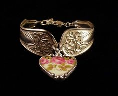 Art Nouveau silver spoon bracelet with broken china heart charm by Laura Beth Love Dishfunctional Designs