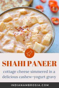 Shahi paneer or cashew paneer made two ways. A creamy, rich and mellow gravy with soft malai paneer cubes. Serve with warm naan for a tasty meal! Paneer Dishes, Veg Dishes, Vegetable Dishes, Tasty Dishes, Food Dishes, Indian Paneer Recipes, North Indian Recipes, Indian Food Recipes, Vegetarian Chicken