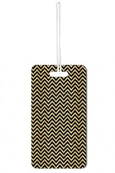 Luggage Tags Collections | Black and Gold Chevrons Print Lea Elliot Set of 8 Luggage Tags with Customizable Back -- To view further for this item, visit the image link.(It is Amazon affiliate link) #throwbackthursday