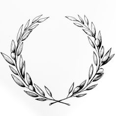 - AMY ROCHELLE PRESS - Hand drawn olive wreath for Wedding invitations.