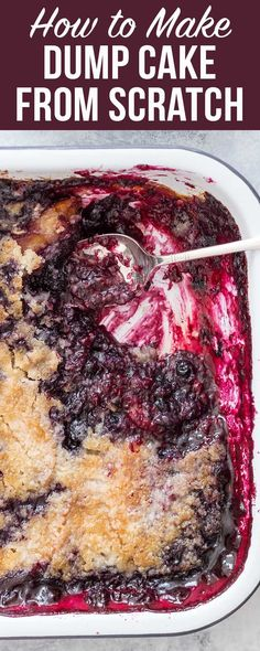 Classic dump cake from scratch! No canned pie filling, no cake mix. Real ingredients, but just as easy!
