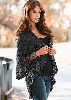 Adorable crochet cardigan! @Andrea / FICTILIS O'Dell Girl can you make this??