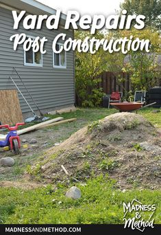 After building a garage, the yard was destroyed! Read all about the yard repair post construction, and how you can slowly get grass back. Kale Plant, Building A Garage, Yard Maintenance, Building Raised Garden Beds, Top Soil, Grass Seed, Yard Design, Outdoor Projects, Compost