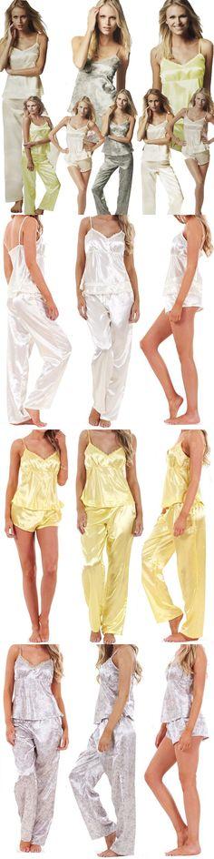 c3b0362282 Sleepwear 117771  Ladies Women 3 Piece Satin Pyjama Set Vest Lace Shorts Pj  S Nightwear