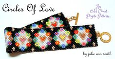 You are purchasing an odd count peyote digital pattern....NOT THE ITEM IN THE PHOTO!! In my life, Ive been blessed enough to be surrounded by LOVE! Love, to me, makes the WORLD GO ROUND! Ive tried to show YOU the LOVE in this sweet bracelet design! Thank you for the opportunity