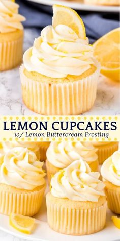 Cupcakes These homemade lemon cupcakes are fluffy, moist and topped with lemon buttercream frosting. The citrus flavor is the perfect balance of sweet and tangy, and perfect for true lemon lovers. homemade lemon cupcakes are fluffy, moi Food Cakes, Cupcake Cakes, Cup Cakes, Muffin Cupcake, Sweets Cake, Köstliche Desserts, Delicious Desserts, Dessert Recipes, Easter Desserts