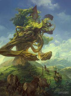 Suchlaph, Angel of Verdancy – fantasy character concept by Peter Mohrbacher Fantasy Artwork, Fantasy Creatures, Mythical Creatures, Peter Mohrbacher, Ange Demon, Angels And Demons, Fantasy Inspiration, Fantasy Landscape, Creature Design