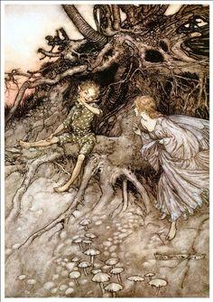 Beautiful A4 Glossy Fairies Print - 'Midsummer Night's Dream II' - Arthur Rackham 1908 by Arthur Rackham http://www.amazon.co.uk/dp/B00AX3SS30/ref=cm_sw_r_pi_dp_ZwFsvb1C9D0PJ