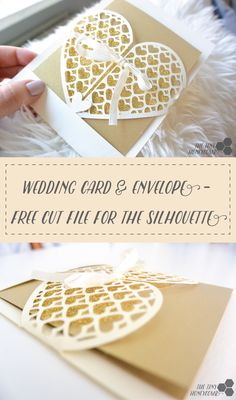 Wedding Card. Free cut file for the Silhouette Cameo. Heart grid card with gold glitter and ribbon. The tiny honeycomb blog