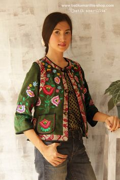 Batik Amarillis's folklore 2014 vol 2 splendid Hungarian embrodery jacket with Tenun batik gedog Tuban of Indonesia accented with unique wooden buttons ..enjoy our beautiful ethnic inspired collection and spectacular Hungarian folk art embroidery..