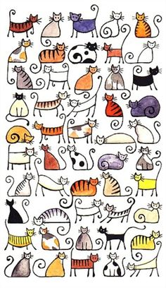 Doodle Ideas To try In Your Bullet Journal/ Decorate your Bujo with these doodles. From cute cactus doodles, to sea life, to cute little food. Dress up your Bullet Journal! Zentangle, Cat Art Print, Animal Art Prints, Print Print, Doodle Drawings, Cat Doodle, Drawings Of Cats, Crazy Cats, Painting & Drawing