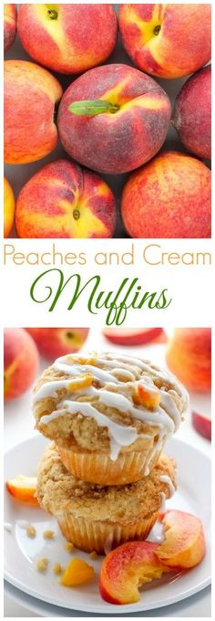 Peaches and Cream Muffins - Soft and fluffy Fresh Peach Muffins are topped with a Creamy Cinnamon Vanilla Glaze! A delicious recipe sure to make you weak at the knees. Muffins Peaches and Cream Muffins Muffins Blueberry, Healthy Peach Muffins, Peach Muffin Recipes, Cupcake Cakes, Cupcakes, Breakfast Recipes, Dessert Recipes, Breakfast Muffins, Morning Glory Muffins