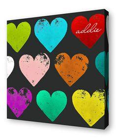 Look at this #zulilyfind! Rainbow Hearts Personalized Canvas Wall Art #zulilyfinds