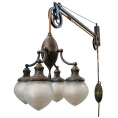 Outstanding Antique Industrial Adjustable Telescoping Lamp