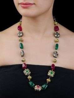 Buy Single Line Kundan Work Metal Carved Beads Quartz Necklace Online Buy Multicolor Single Line Kundan Work Metal Carved Beads … Jewelry Design Earrings, Bead Jewellery, Necklace Designs, Beaded Jewelry, Jewelery, Beaded Necklace, Fashion Necklace, Fashion Jewelry, Indian Jewelry Sets