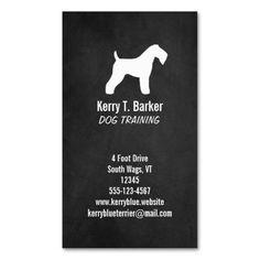 Kerry Blue Terrier Silhouette - Chalkboard Style Business Card Template