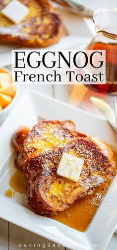 Eggnog French Toast is crispy and buttery on the outside, soft and custardy on the inside. What a treat! #frenchtoast #eggnogfrenchtoast #holidaybrunch #holidaybreakfast #christmasbreakfast #christmasmorningrecipe #easyfrenchtoast #bestfrenchtoast #breakfast #brunch