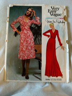 Size 8 Vogue 1549 Diane Von Furstenberg  Wrap Dress Uncut