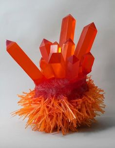 Carson Fox - Orange Crystal Spikes - it looks like jello! I almost wanna eat it lol Orange Crystals, Stones And Crystals, Gem Stones, Minerals And Gemstones, Rocks And Minerals, Natural Gemstones, Natural Crystals, Beautiful Rocks, Beautiful Things