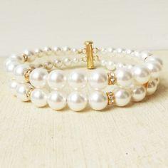 Classic Bridal Wedding Bracelet, Double Strand Pearl and Rhinestone Wedding Cuff, Simple Pearl Bridal Bracelet, Wedding Bridal Jewelry, GRACE  This