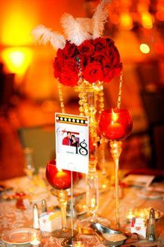 hollywood glam feather centerpieces | Hollywood glam wedding Holiday Inn Alexandria centerpiece Davincis ...