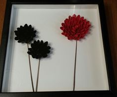 Black and red pistachio shell flowers