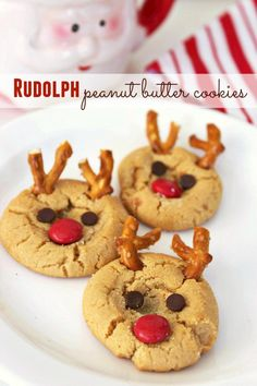 Rudolph Peanut Butter Cookies Recipe - Adorable reindeer shaped cookies for the holidays! Easy to make and fun to eat!