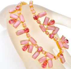 "Vintage Fuchsia Pink Rhinestone Necklace Satin Glass 15"" Prong Set High End  #Unbranded #Rhinestone"