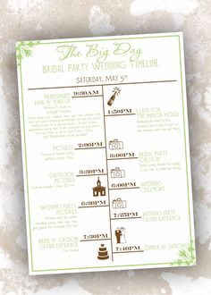 Trendy Wedding Day Itinerary For Bridal Party Timeline Ideas Wedding Day Itinerary, Wedding Day Schedule, Wedding Day Timeline, Wedding Planning Checklist, Wedding Table Flowers, Wedding Paper, Wedding Flip Flops, Trendy Wedding, Wedding Ideas