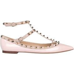 Valentino Garavani Patent leather Rockstud flats (€710) ❤ liked on Polyvore featuring shoes, flats, pink, patent leather flats, ankle wrap flats, ankle tie flats, patent leather shoes and patent leather pointed toe flats