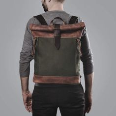 This backpack is ideal for use in the city or the great outdoors. Made out of hand waxed canvas and genuine leather, it is both water-proof and durable. Additionally, all stress points are reinforced with extra stitching and rivets. There is plenty of space for your things in the