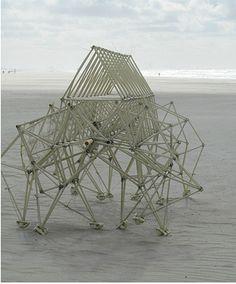 Theo Jansen. Hier een van zijn zeer bijzondere strandbeesten. Als ze door de wind in beweging komen en weglopen, is dat een prachtige, ontroerende en unieke ervaring. Geweldig!
