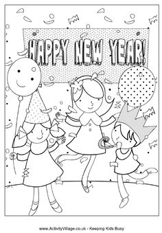 Happy New Year Party Colouring Page
