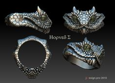 Horned viper ring. Jewelry art for 3D modelling.  http://j-design.pro #Zbrush #jewelry # 3D